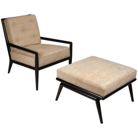 T.H. Robsjohn-Gibbings Lounge Chair and Ottoman for Widdicomb