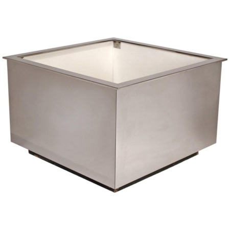 Custom Architectural Mirror Polished Stainless-Steel Mid-Century Modern Planter