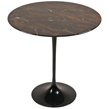 Eero Saarinen Side Table for Knoll with Polished Espresso Marble Top
