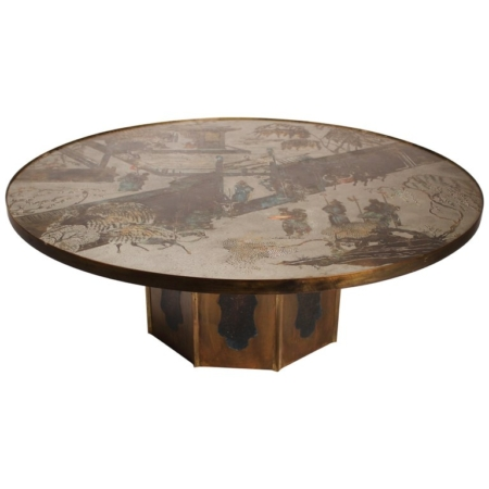 "Large Bronze ""Chan"" Cocktail Table by Philip & Kelvin Laverne"