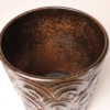 Rare and unusual 1960s David Cressey designed glazed ceramic vessel from the Pro-Artisan Series for Architectural Pottery. This example has the 'Terra Umbra' glaze and the 'Arcs' texture.