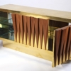 Brass and Walnut Credenza