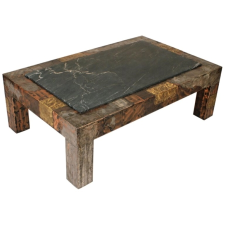 Paul Evans Brutalist Mixed Metals Patchwork Coffee Table with Exotic Slate Top