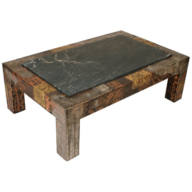 Paul Evans Brutalist Mixed Metals Patchwork Coffee Table With Exotic Slate Top 20c Design
