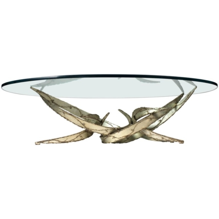 Silas Seandel Silver Leafed Brutalist Coffee Table