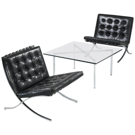 Museum Quality Ludwig Mies van der Rohe Barcelona Chairs with Table