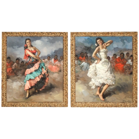 Framed Pair of Francisco Rodriguez san Clemente Oil Paintings
