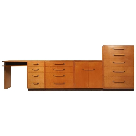 """Flexible Home Arrangement"" Modular Birch Cabinet System by Eliel Saarinen"