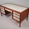 Gerry Zanck Walnut Campaign Desk with Leather Top and Drawers