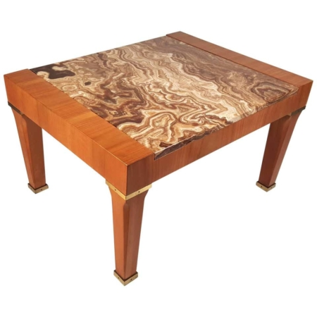 Baker Silver Label Onyx and Mahogany Side Table