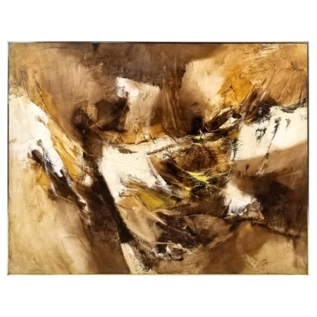 Abstract oil and encaustic on board by Walter McCown executed in the mid-1960s. From the corporate collection of a private Texas bank. Walter Edwin McCown is a listed Texas artist who was born in Whitney, Texas. He lived for times in McAllen, Harlingen and finally settled in Waco. He studied art with Dolly Nabinger, Eleanor Roth and Norma Knight. He first began exhibiting with the Texas Watercolor Society in 1951 and in 1960 won first prize in the El Paso Sun Carnival Art Exhibition. He was also a member of the Texas Fine Art Association and exhibited in many of their exhibitions. When he moved to Waco in 1957 he began to exhibit nationally from Los Angeles to New York. He later became an art instructor. The demand for his stylish paintings continually increased until his untimely death.