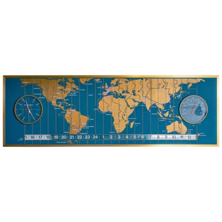 1960s Braniff Airlines World Map Doomsday Clock with Programmable Lighting