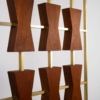 Large Scale 1960s Custom Walnut and Gold Anodized Aluminum Architectural Screen