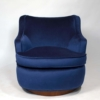 Pair of Edward Wormley Swivel Chairs for Dunbar in Blue Velvet