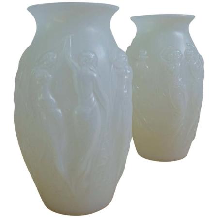 Sabino Glass Art Deco Vases