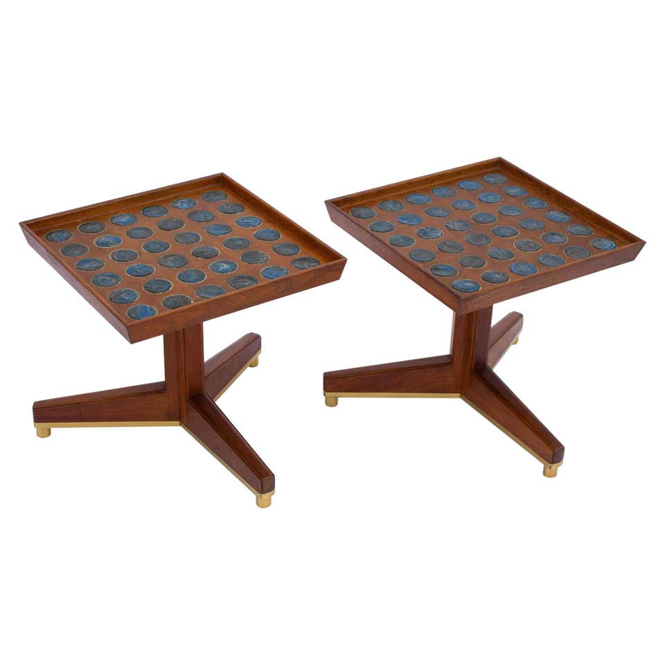 """Janus"" Occasional Tables by Edward Wormley with Natzler Tiles"