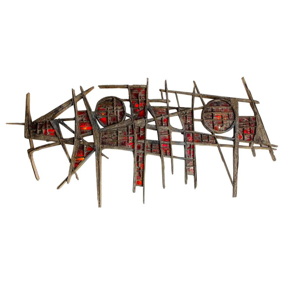 Pia Manu Brutalist Illuminated Wall Sculpture