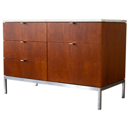 Florence Knoll Credenza in Teak and Marble