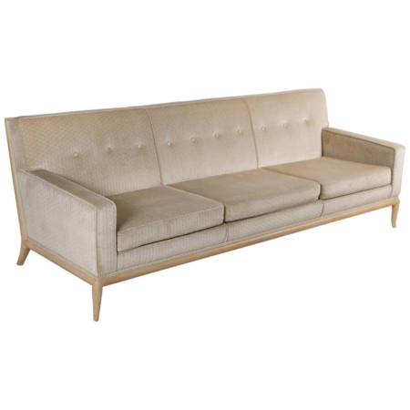 T.H. Robsjohn Gibbings Three-Seat Sofa Custom Bleached Walnut Frame Widdicomb
