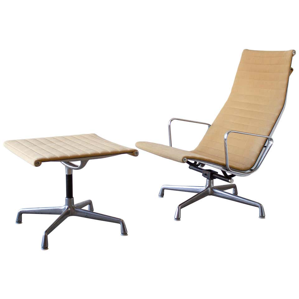Charles Eames Lounge Chair Aluminum Group Series for Herman Miller 1970s Ottoman