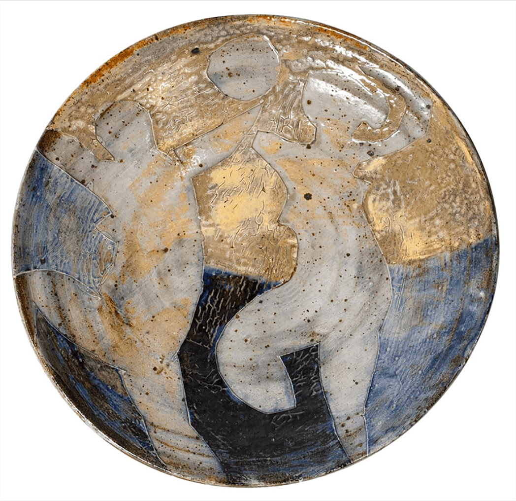 Peter Voulkos Ceramic Charger with Two Female Nudes Dancing Beneath the Moon