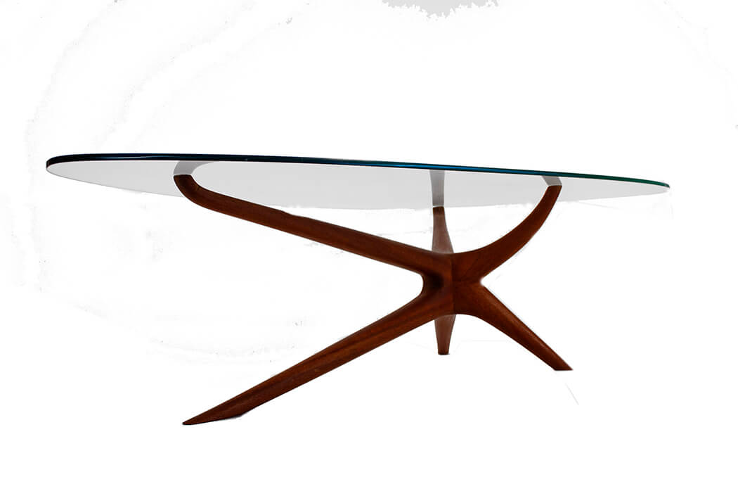 Vladimir Kagan Tri-Symmetric Coffee Table in Mahogany with Glass Top