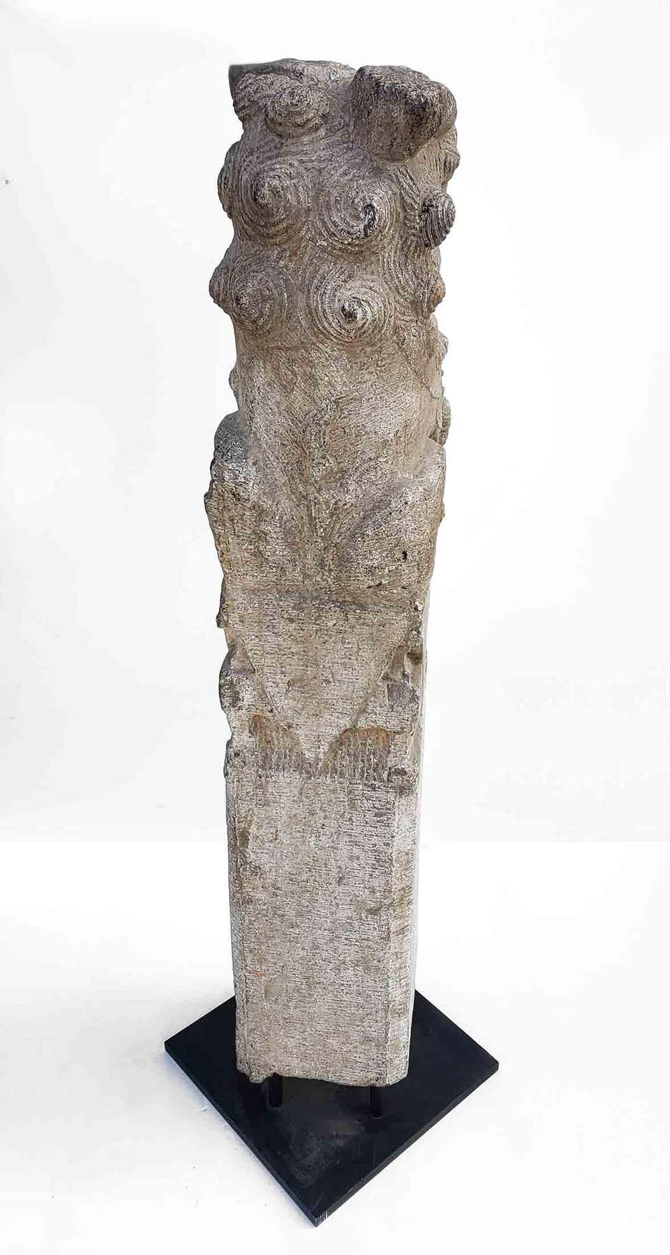 Chinese Foo Dog Hitching Post Sculpture in Solid Granite Early 20th Century