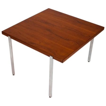 Harvey Probber Side Table in Teak and Polished Stainless Steel, 1960s