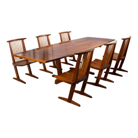George Nakashima Conoid Dining Set in Sap Walnut with Free Form Edges & 6 Chairs