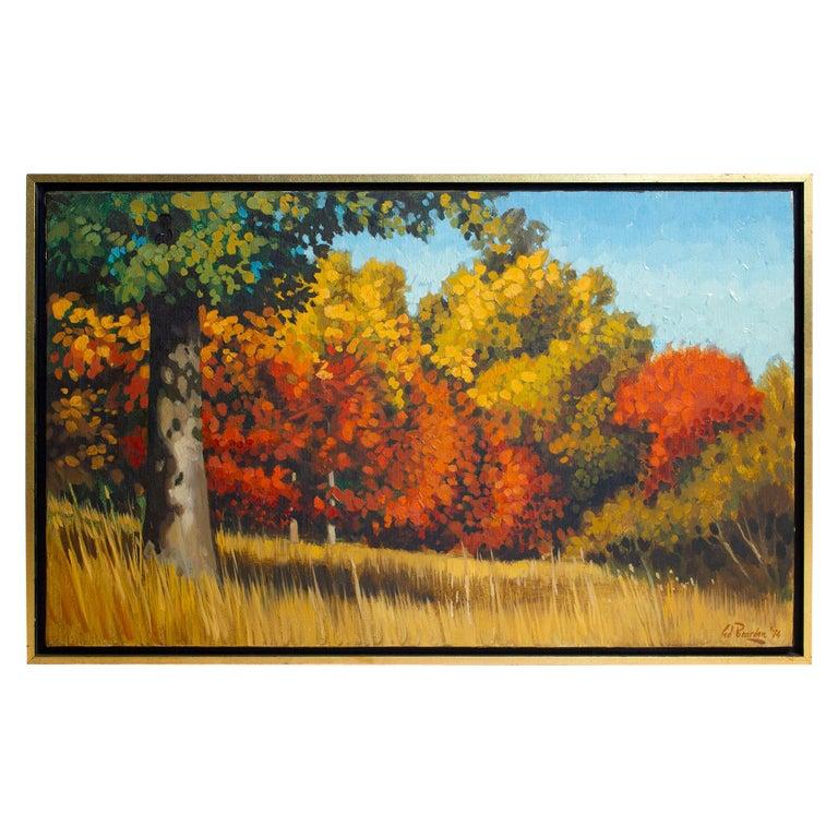 Ed Bearden Oil on Canvas 'Edge of the Woods in Fall' 1974 Texas Artist