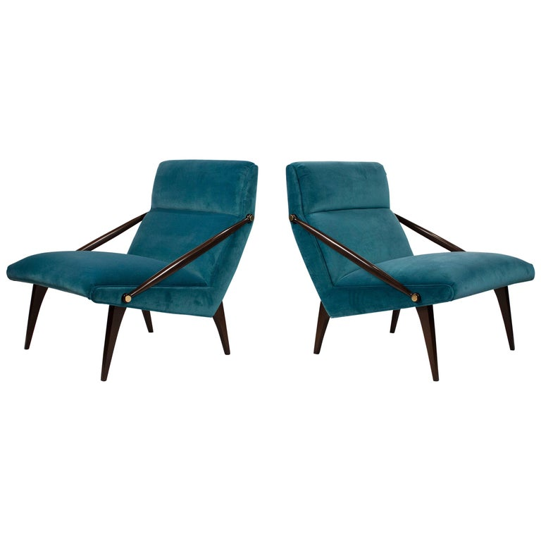 Gio Ponti Velvet Lounge Chairs in Walnut & Brass for M. Singer and Sons, 1950s
