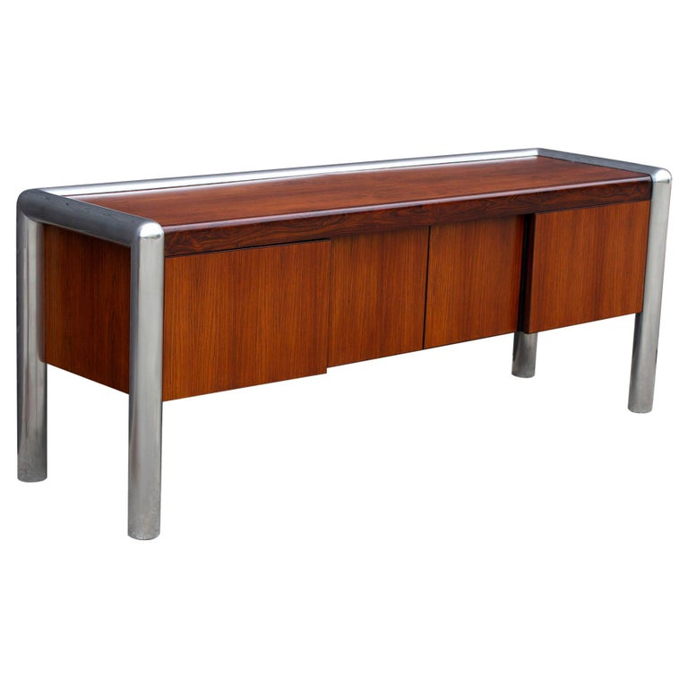 John Mascheroni Rosewood Credenza from the TUBO Series Produced by Vecta, 1970s