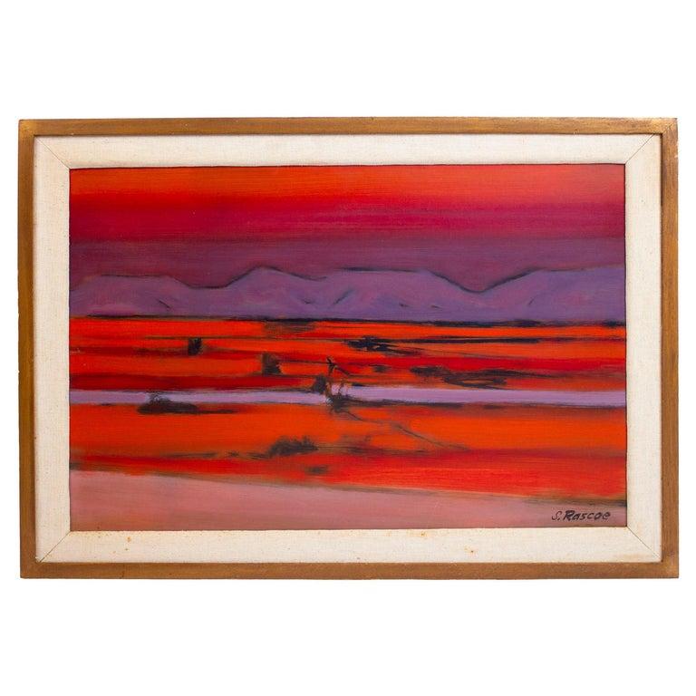 Stephen Thomas Rascoe Abstract Landscape Painting 1970s 'Sierra Madre' Texas Art