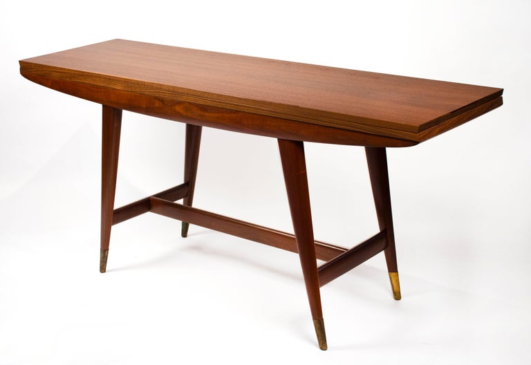 Gio Ponti Convertible Console / Dining Table for M. Singer & Sons in Walnut 1950