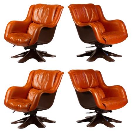 Mid-century modern Yrjo Kukkapuro Karuselli Easy Chairs and Ottoman in Leather, 1960s.