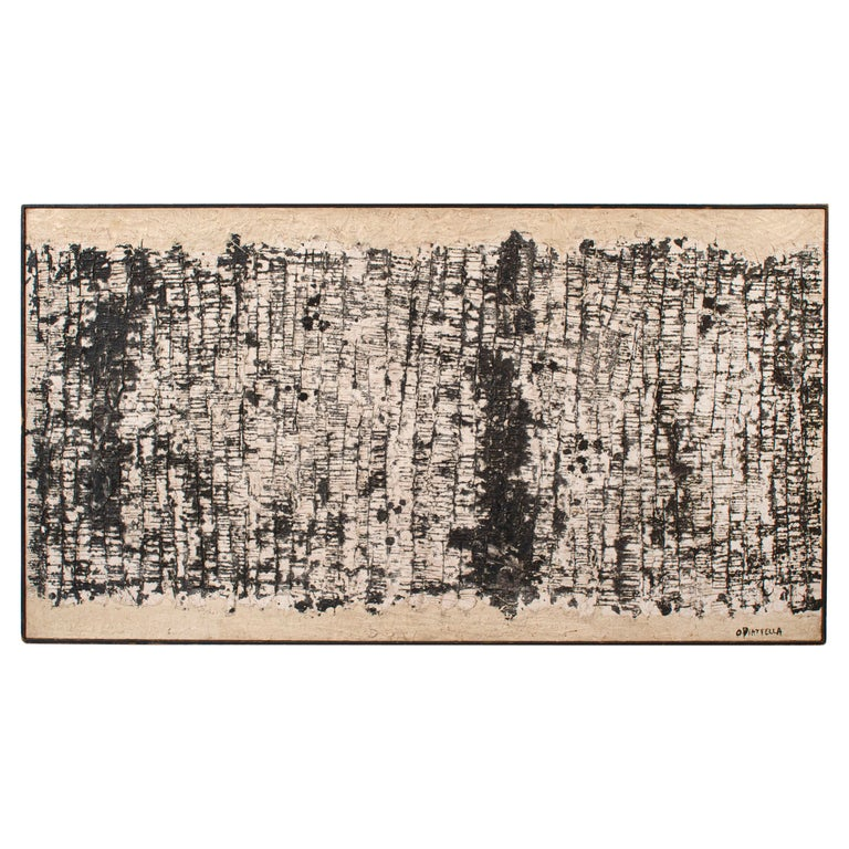 "Oscar Piatella Abstract Oil Painting on Canvas ""La Lunga Strada"", 1958"
