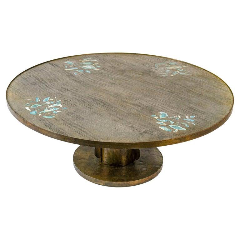 Philip & Kelvin Laverne Cocktail Table with Etruscan Base & Custom Motif