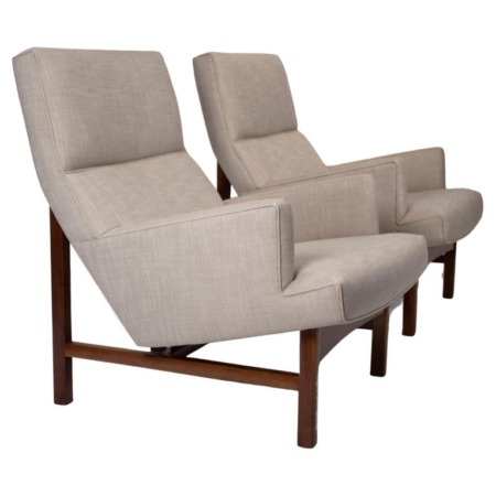 Jen Risom Floating Lounge Chairs in Walnut Cradle Frames with Linen Upholstery