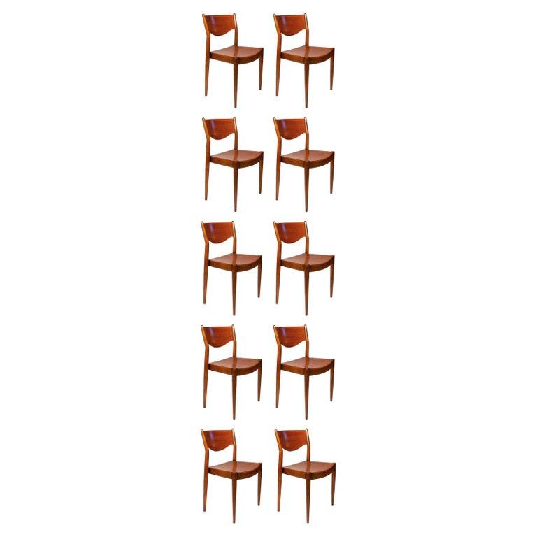 Borge Mogensen Dining Chairs for C.M. Madsens in Teak & Beech Danish Modern