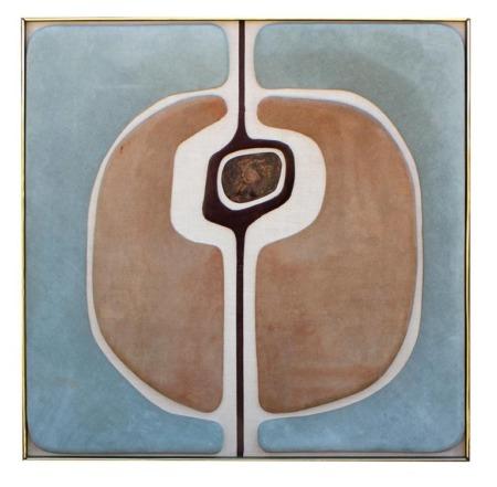 Antonio Roca Textile Composition in Suede Linen & Patinated Bronze Mexico 1970s