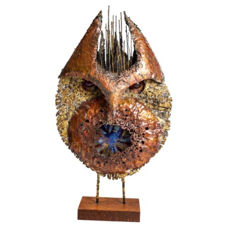 """James Bearden Large Scale Brutalist Owl Sculpture from his """"Animal Series"""""""