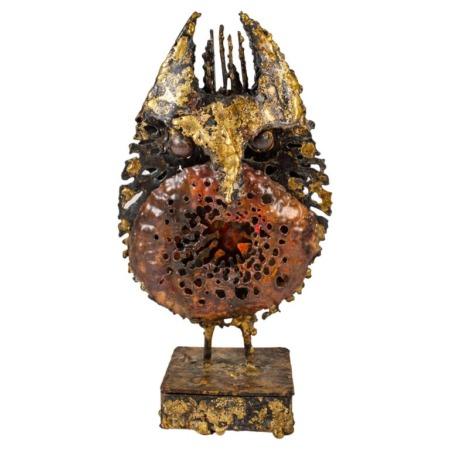 "James Bearden Brutalist Owl Sculpture with Stash Box in Base ""Animals Series"""